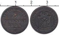 Изображение Монеты Шварцбург-Зондерхаузен 3 пфеннига 1858 Медь VF