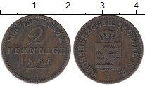 Изображение Монеты Саксен-Веймар-Эйзенах 2 пфеннига 1865 Медь XF-