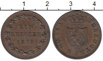 Изображение Монеты Германия Нассау 1 крейцер 1838 Медь XF+