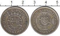 Изображение Монеты Сан-Томе и Принсипи 5 эскудо 1951 Серебро XF Колония  Португалии