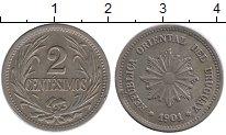 Изображение Монеты Уругвай 2 сентесимо 1901 Медно-никель XF