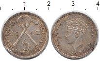 Изображение Монеты Родезия 6 пенсов 1942 Серебро VF Георг VI