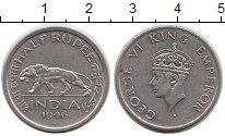Изображение Монеты Индия 1/2 рупии 1946 Медно-никель XF Лев,Георг VI