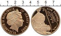 Изображение Монеты Остров Джерси 5 фунтов 2006 Серебро Proof Елизавета II.  Поезд