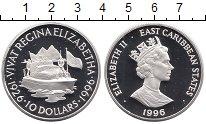 Изображение Монеты Карибы 10 долларов 1996 Серебро Proof Елизавета II.  70 -