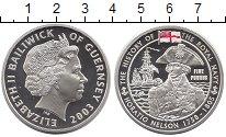 Изображение Монеты Гернси 5 фунтов 2003 Серебро Proof Елизавета II.  Горац