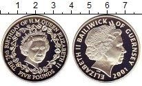 Изображение Монеты Гернси 5 фунтов 2001 Серебро Proof 75 лет Елизавета II