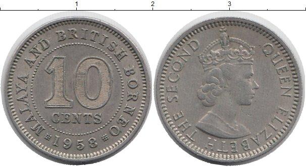 Картинка Монеты Малайя 10 центов Медно-никель 1958