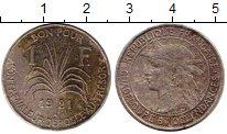 Изображение Монеты Гваделупа 1 франк 1921 Медно-никель VF