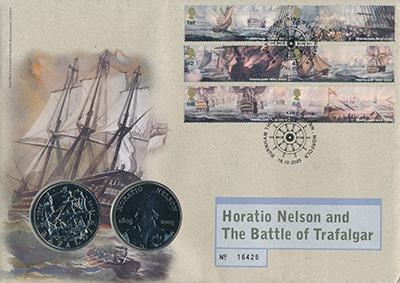 Изображение Подарочные монеты Великобритания Трафальгарское сражение 2005 Медно-никель AUNC Подарочный набор пос