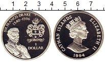 Изображение Монеты Каймановы острова 1 доллар 1994 Серебро Proof- Фрэнсис Дрейк