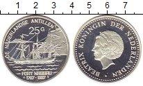 Изображение Монеты Антильские острова 25 гульденов 1997 Серебро Proof- Беатрикс Корабль