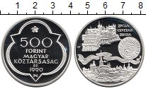 Изображение Монеты Венгрия 500 форинтов 1990 Серебро Proof- Венгрия и Вена.Два с