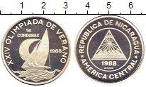 Изображение Монеты Никарагуа 50 кордоба 1988 Серебро Proof- Олимпийские игры Кор