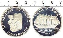 Изображение Монеты Конго 1.000 франков 2001 Серебро Proof- Корабль Томас Лавсон