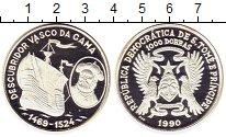 Изображение Монеты Сан-Томе и Принсипи 1.000 добрас 1990 Серебро Proof- Васко да Гама Корабл