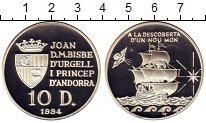 Изображение Монеты Андорра 10 динерс 1994 Серебро Proof- Корабль