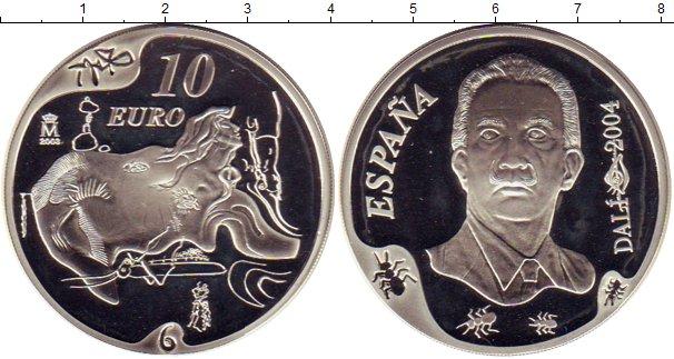 Картинка Монеты Испания 10 евро Серебро 2004
