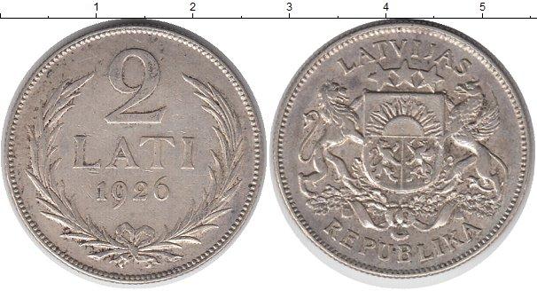 Картинка Монеты Латвия 2 лата Серебро 1926