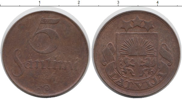 Картинка Монеты Латвия 5 сантим Бронза 1924