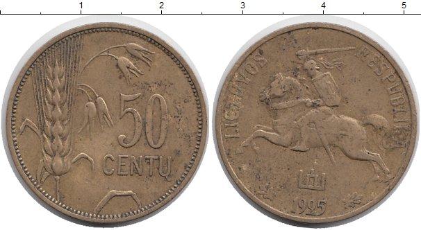 Картинка Монеты Литва 50 центов Латунь 1925