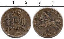 Изображение Монеты Литва 20 центов 1925 Латунь XF