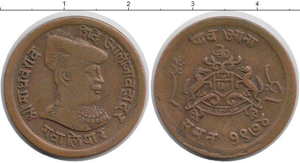 Картинка Монеты Гвалиор 1/4 анны Медь 1917