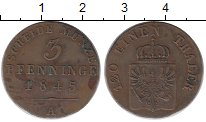 Изображение Монеты Германия Пруссия 3 пфеннига 1845 Медь XF