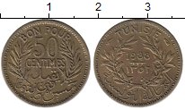 Изображение Монеты Тунис 50 сантим 1933 Латунь XF-