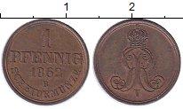 Изображение Монеты Германия Ганновер 1 пфенниг 1862 Медь UNC-