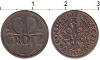 Изображение Монеты Польша 1 грош 1927 Бронза XF