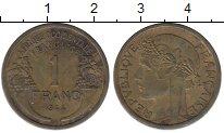 Изображение Монеты Франция Французская Африка 1 франк 1944 Латунь XF