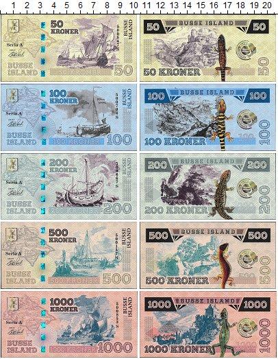 Изображение Банкноты Фантазийные выпуски Набор из 5 бон 0  UNC Фэнтази. Остров Бусс