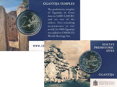 Изображение Подарочные монеты Мальта 2 евро 2016 Биметалл UNC доисторические компл