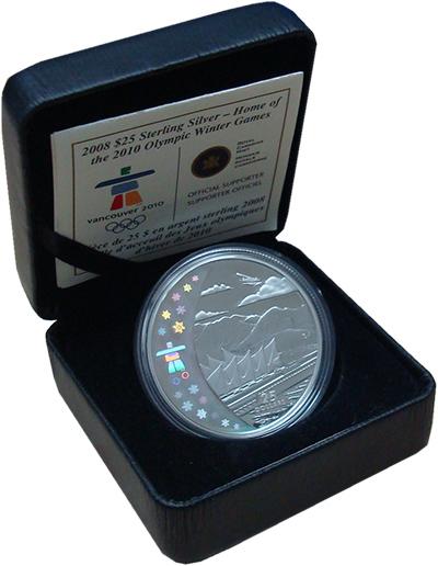Изображение Подарочные монеты Канада 25 долларов 2008 Серебро Proof Олимпиада в Ванкувер