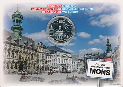 Изображение Подарочные монеты Бельгия 5 евро 2015 Медно-никель UNC Монс - Европейская с