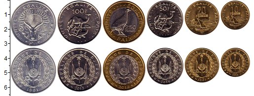 Изображение Наборы монет Джибути Джибути 1991-2013 0  UNC В наборе 6 монет ном