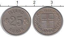 Изображение Монеты Исландия 25 аурар 1958 Медно-никель XF