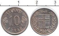 Изображение Монеты Исландия 10 аурар 1946 Медно-никель XF