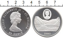 Изображение Монеты Остров Святой Елены 25 пенсов 1980 Серебро Proof Елизавета II.  80 -