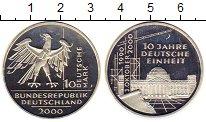 Изображение Монеты ФРГ 10 марок 2000 Серебро Proof- J   10 - летие  восс