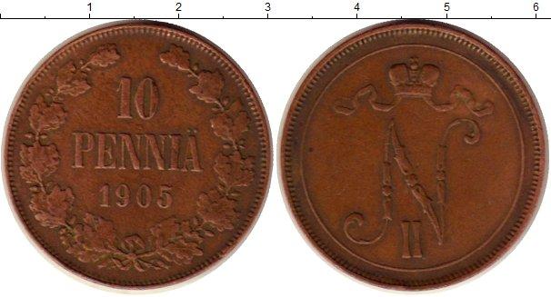 Картинка Монеты 1894 – 1917 Николай II 10 пенни Медь 1905