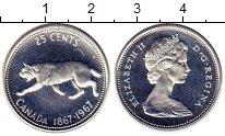 Изображение Монеты Канада 25 центов 1967 Серебро UNC 100-летие Конфедерац