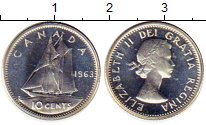 Изображение Монеты Канада 10 центов 1963 Серебро UNC Елизавета II.  Парус