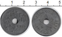 Изображение Монеты Бельгия 50 сантим 1918 Цинк XF