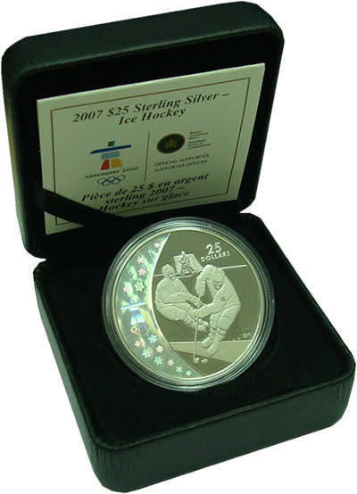 Изображение Подарочные монеты Канада 25 долларов 2007 Серебро Proof Олимпиада в Ванкувер