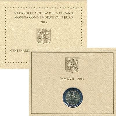 Изображение Подарочные монеты Ватикан 2 евро 2017 Биметалл UNC 100-летие явления Де