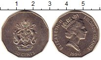 Изображение Монеты Соломоновы острова 50 центов 1990 Медно-никель XF Елизавета II.  Герб