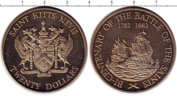 Картинка Монеты Сент Киттс-Невис 20 долларов Медно-никель 1982