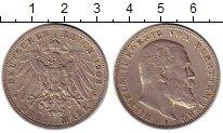 Изображение Монеты Вюртемберг 3 марки 1908 Серебро XF